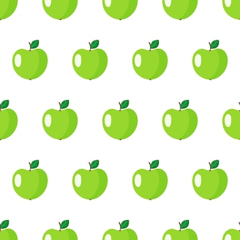 Seamless con frutta intera mela verde con foglie isolato su sfondo bianco