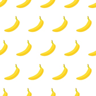 Seamless con banana matura gialla intera isolato su sfondo bianco