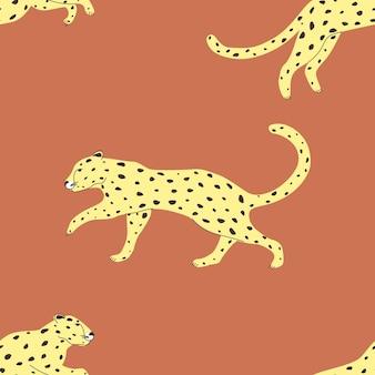 Modello senza cuciture con un leopardo animale selvatico illustrazione vettoriale per la stampa