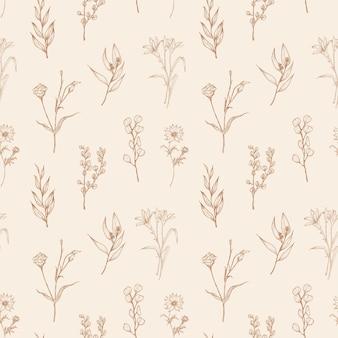 Modello senza cuciture con fiori che sbocciano selvatici ed erbe fiorite disegnati a mano con linee di contorno