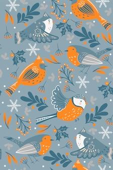 Modello senza cuciture con uccelli invernali ed elementi floreali.
