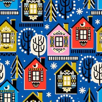 Modello senza cuciture con alberi di case invernali e fiocchi di neve