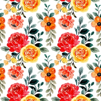 Modello senza cuciture con acquerello floreale rosso giallo