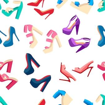 Seamless pattern. collezione di scarpe estive donna. set di scarpe tacco alto. mocassini colorati in pelle di design piatto alla moda. illustrazione su sfondo bianco.