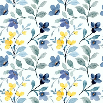 Modello senza cuciture di fiori selvatici giallo e blu con acquerello