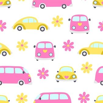 Modello senza cuciture di auto gialla e bus rosa con fiori su sfondo bianco.
