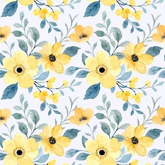 Modello senza cuciture di floreale giallo con acquerello