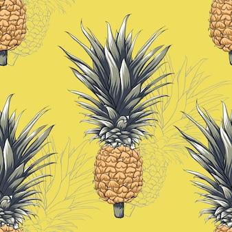 Modello senza cuciture giallo ananas frutta sfondo astratto