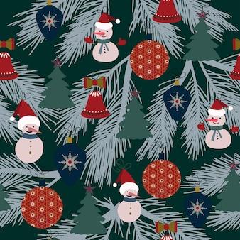 Modello senza cucituredecorazioni natalizie sfondo nero fiocchi di neve stelle decorazioni festive capodanno