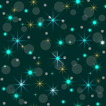 Modello senza cucituredecorazione di natale sfondo verde ghirlanda al neon stelle decorazioni festive capodanno