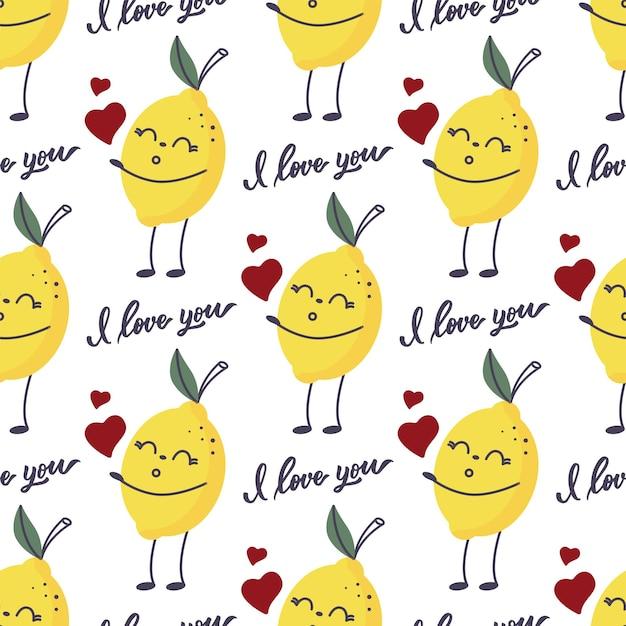 Il motivo senza cuciture di un limone con una scritta: ti amo.