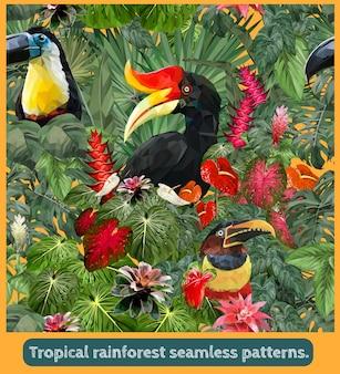 Arte senza cuciture dei modelli della foresta pluviale tropicale amazzonica e degli uccelli colorati del tucano.