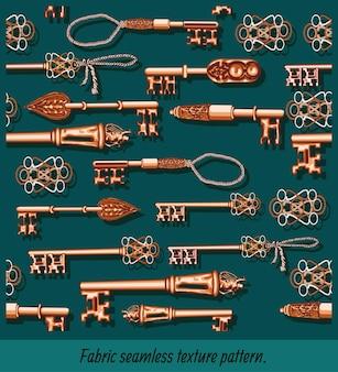 Arte di modelli senza cuciture della mano che disegna chiavi antiche.