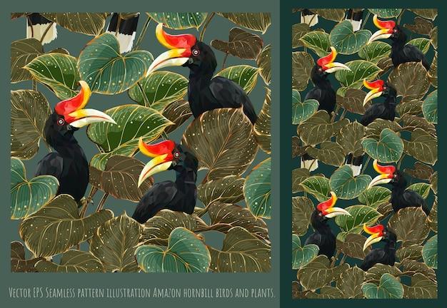 Arte disegnata a mano di modelli senza cuciture di uccelli bucero in foglie.