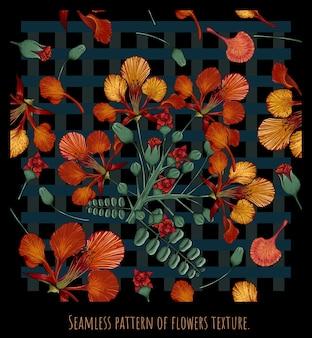 Modelli senza cuciture disegnati a mano illustrazione arte di barbados pride fiori e foglie.