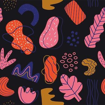 Modelli senza cuciture disegnati a mano varie forme e oggetti scarabocchiati con trame. illustrazione vettoriale alla moda moderna contemporanea astratta. trama del timbro