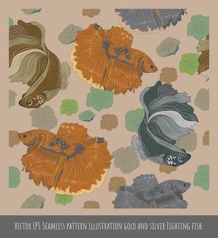 Modelli senza cuciture poligonali arte vettoriale di colorati pesci combattenti fantasia betta.