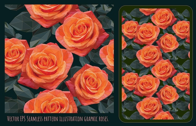 Modelli senza cuciture arte vettoriale poligonale di rose arancioni e foglie verdi.