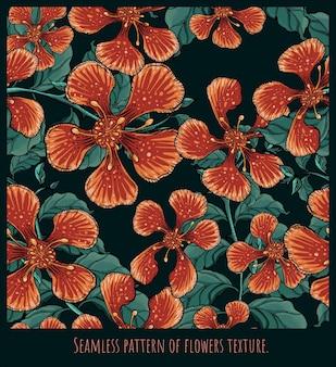 Modelli senza cuciture texture arte di barbados pride fiori e foglie a mano disegno disegno.