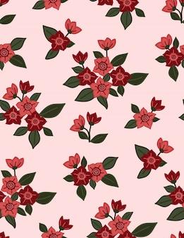Motivo floreale rosa senza soluzione di continuità