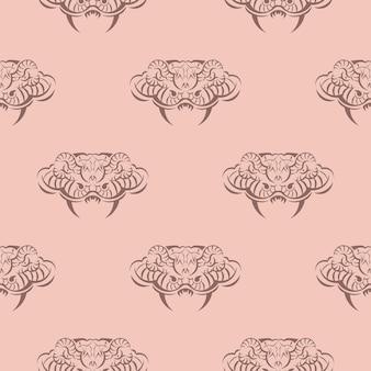 Modello rosa senza cuciture con teste di serpente.