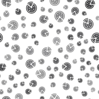 Modello pizza senza soluzione di continuità su sfondo bianco. semplice icona della pizza design creativo. può essere utilizzato per carta da parati, sfondo della pagina web, tessile, stampa ui/ux
