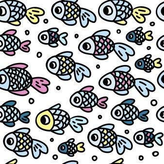 Stampa senza cuciture di simpatici pesci blu, rosa e gialli su sfondo bianco