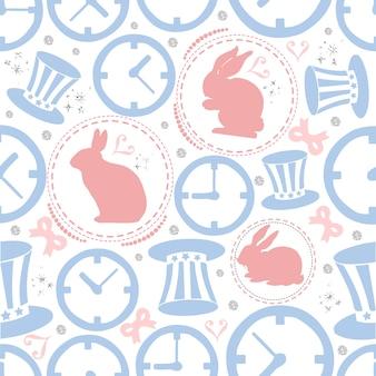 Rabbito senza giunte con sfondo d'argento, priorità bassa di orologio e cappello del cappello, tema di wonderland