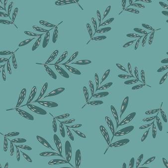 Modello casuale senza cuciture con rami floreali semplici. sfondo blu pallido. ornamento di fogliame grigio. stampa vettoriale piatta per tessuti, tessuti, confezioni regalo, sfondi. illustrazione infinita.