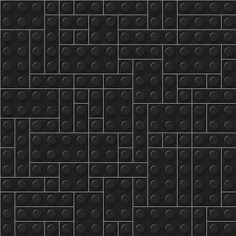 Senza soluzione di continuità di mattoni di plastica scuri realistici. blocchi di costruzione.