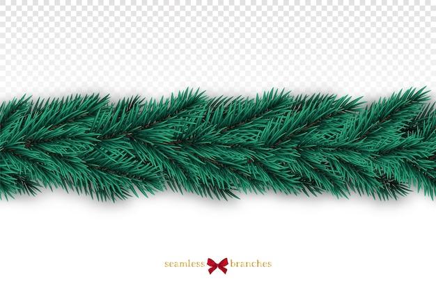 Ghirlanda realistica senza cuciture dell'albero di abete isolata su fondo bianco.