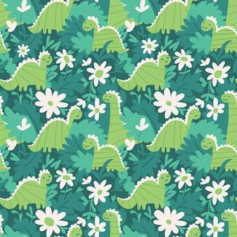 Motivo ripetuto senza soluzione di continuità con foglie e fiori di dinosauri carini
