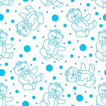 Texture ripetuta senza cuciture con simpatici orsacchiotti e punti. modello blu su sfondo bianco. perfetto per tessuti, biancheria da letto, stampa per bambini.