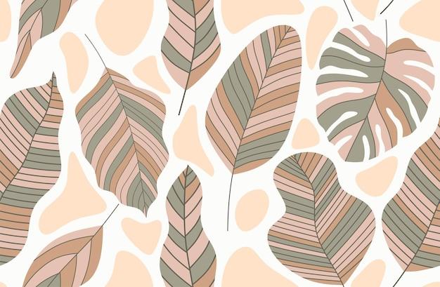 Motivo ripetuto senza soluzione di continuità con forme astratte di foglie