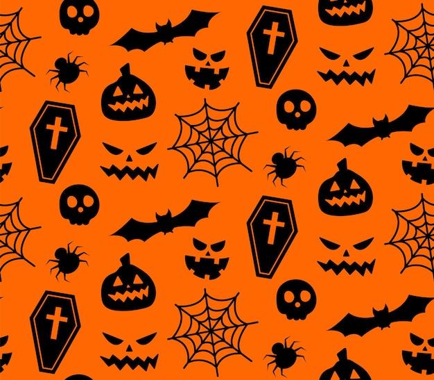 Motivo ripetuto senza soluzione di continuità con i simboli di halloween. progettazione di sagome per la festa di halloween. per cartolina, tessuto, banner, modello, carta da imballaggio. illustrazione piana di vettore. Vettore Premium