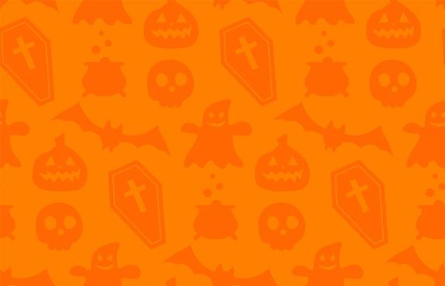 Motivo ripetuto senza soluzione di continuità con i simboli di halloween. progettazione di sagome per la festa di halloween. per cartolina, tessuto, banner, modello, carta da imballaggio. illustrazione piana di vettore.