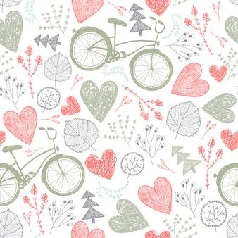 Modello romantico senza soluzione di continuità. cuori, fiori, biciclette d'epoca primavera, estate, sfondo di nozze colori pastello