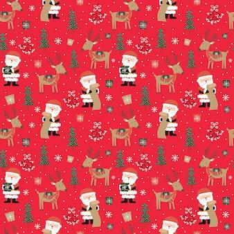 Seamless pattern di babbo natale e renne