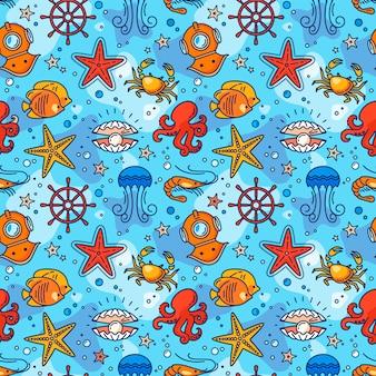 Modello di mare senza soluzione di continuità con volante, granchio, perla, stelle marine, gamberi, aqualung, meduse e pesci.