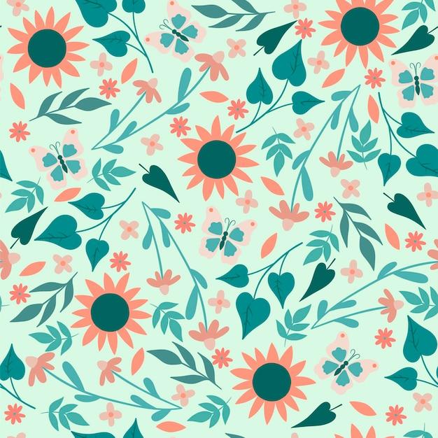 Motivo floreale semplice senza soluzione di continuità con fiori e farfalle
