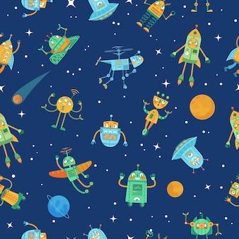 Modello di robot spaziali senza soluzione di continuità. simpatico robot nello spazio con stelle e pianeti, illustrazione di cartone animato colorato robot divertenti.