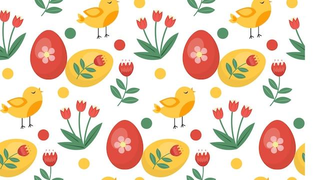 Modello primavera senza soluzione di continuità con uccelli e piante. modello di pasqua. coniglietti dei cartoni animati.