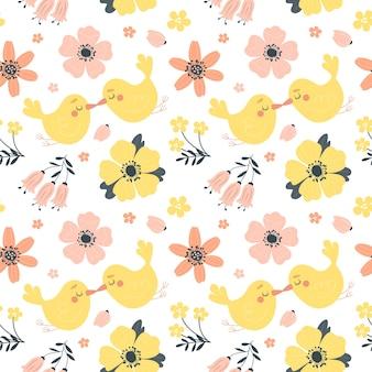 Modello primavera senza soluzione di continuità con fiori e uccelli carini. Vettore Premium