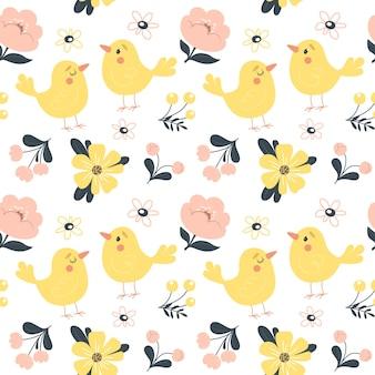 Modello primavera senza soluzione di continuità con fiori e uccelli carini.