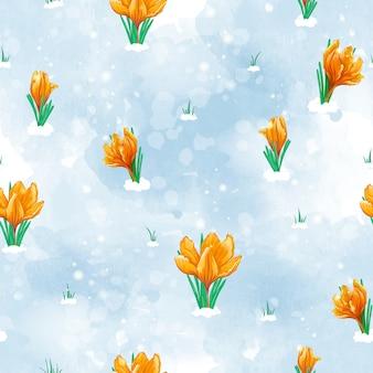 Modello primavera senza soluzione di continuità con i primi fiori che sbocciano sotto la neve. tulipani arancioni.