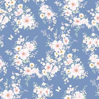 Motivo vettoriale primaverile senza soluzione di continuità con fiori bianchi