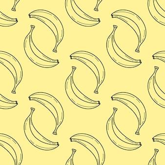 Modello elegante senza soluzione di continuità con banane disegnate a mano