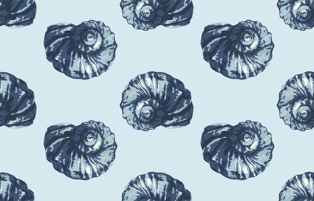 Modello di conchiglia a tema oceano estate senza soluzione di continuità per carta da parati o qualsiasi progetto di sfondo in tinta blu.