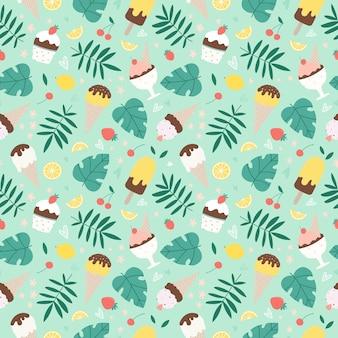 Seamless pattern estivo con gelato assortito, foglie tropicali e frutti. illustrazione disegnata a mano.