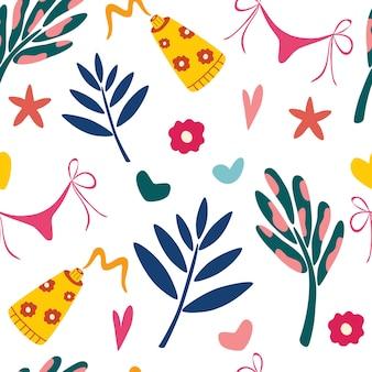 Modello estivo senza cuciture con foglie e articoli da spiaggia. vacanze estive. illustrazione vettoriale per tessuto, carta da imballaggio, carta da parati, tessile, sfondo.